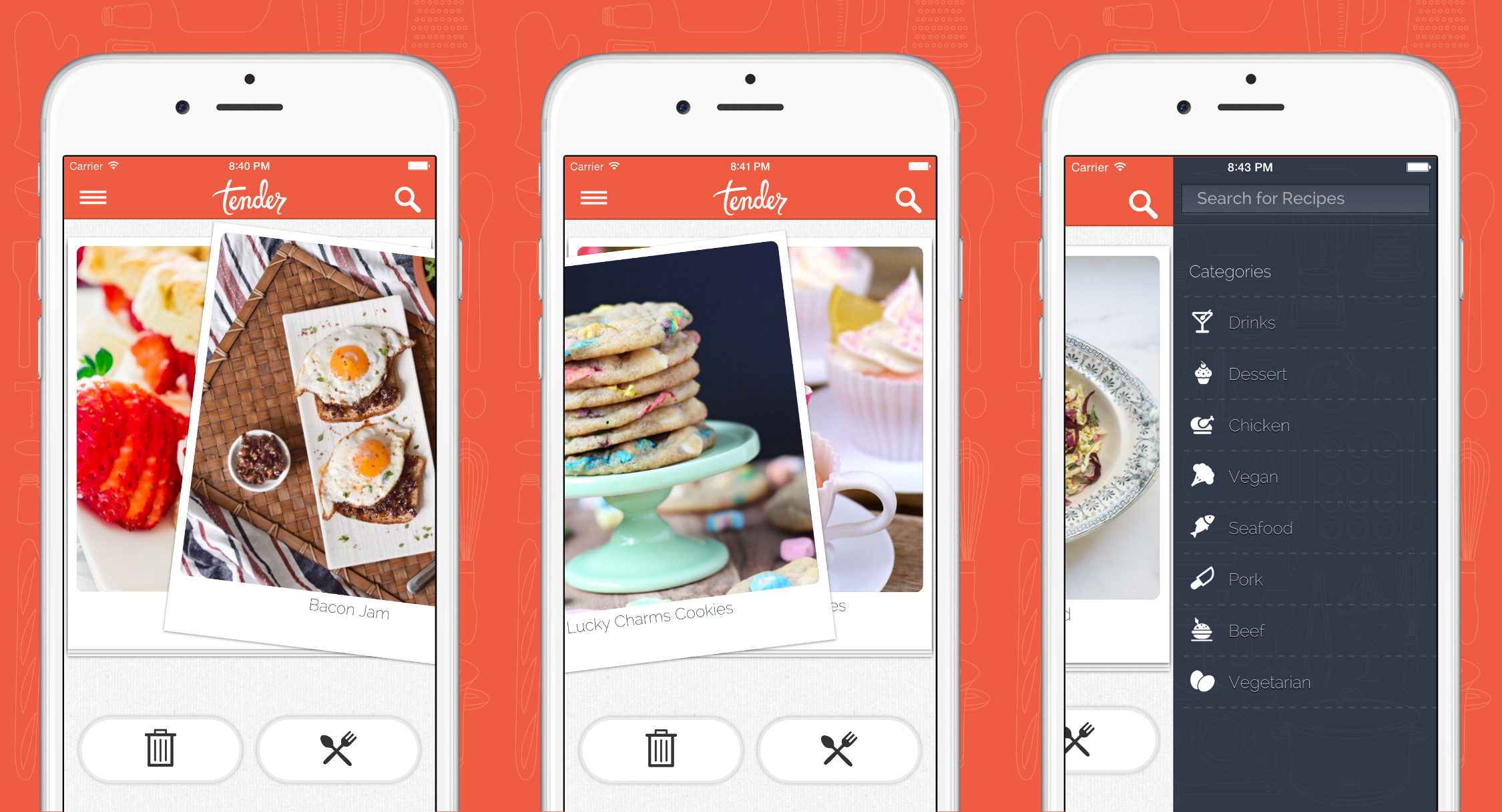 tender is tinder but for food