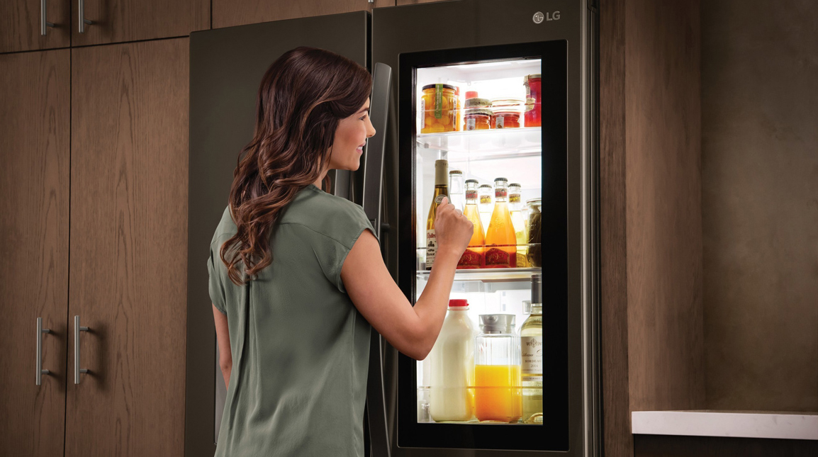 lg instaview fridges let you see through them with just a knock refrigerators. Black Bedroom Furniture Sets. Home Design Ideas